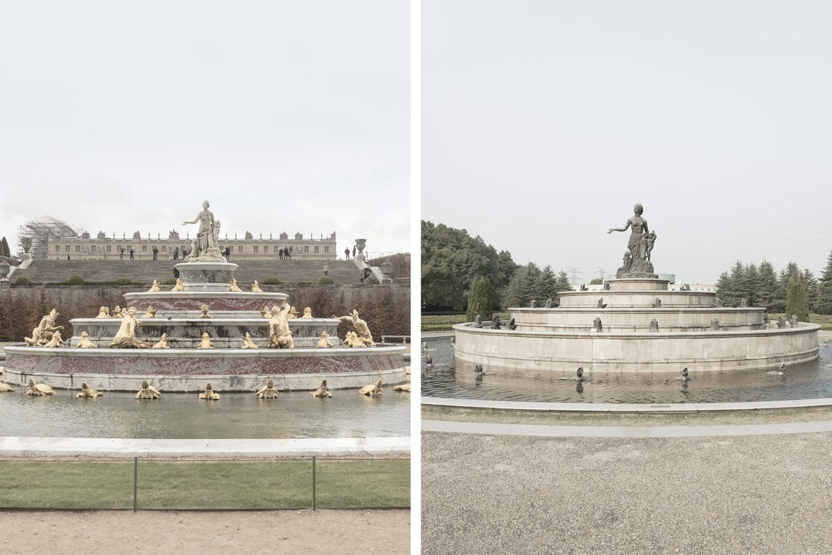 A more sparsely embellished version of the Paris's Latona Fountain (left) has been reimagined in Tianducheng ...