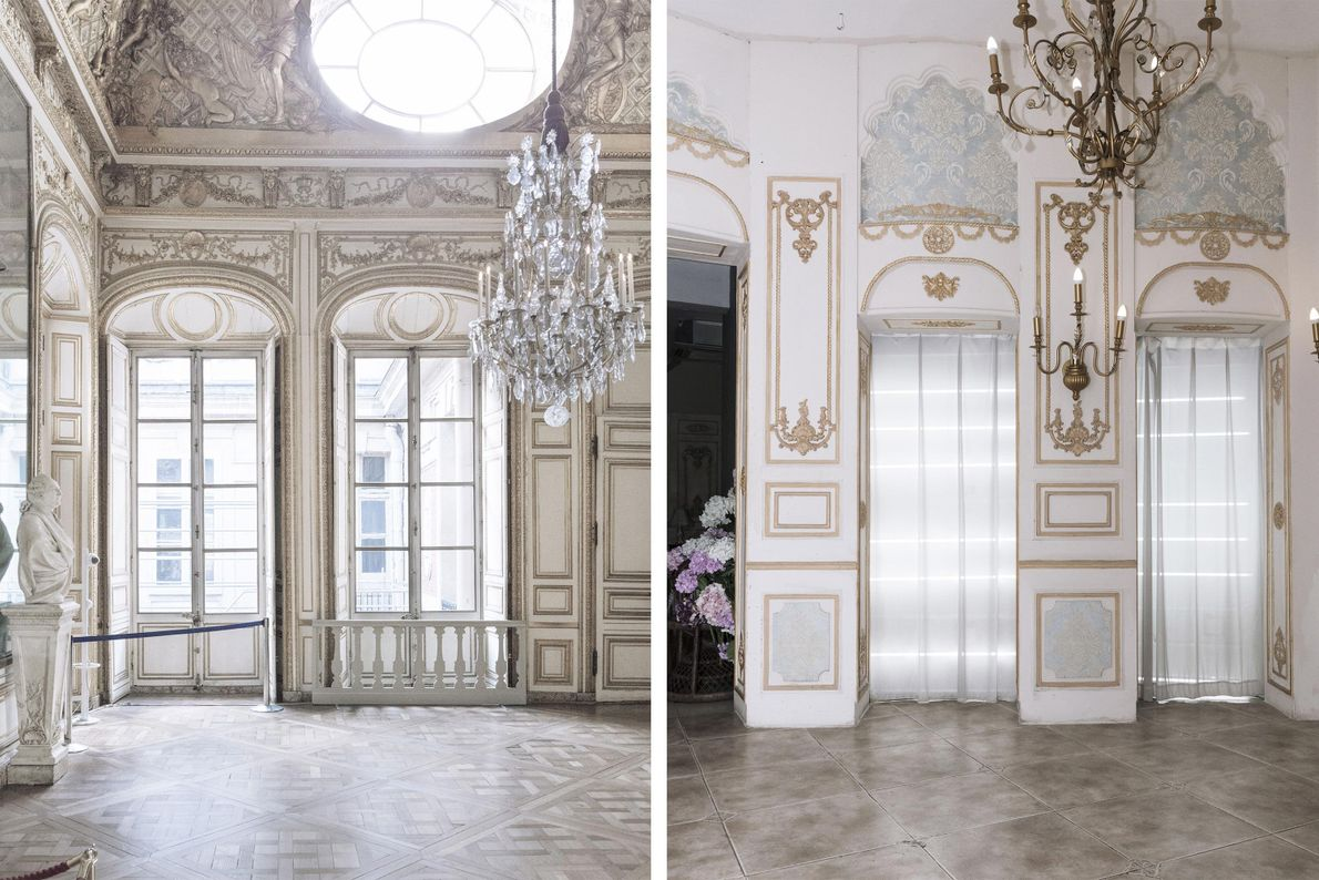 The interior of a building in Tianducheng (right) takes cues from the intricate interior of Versailles ...