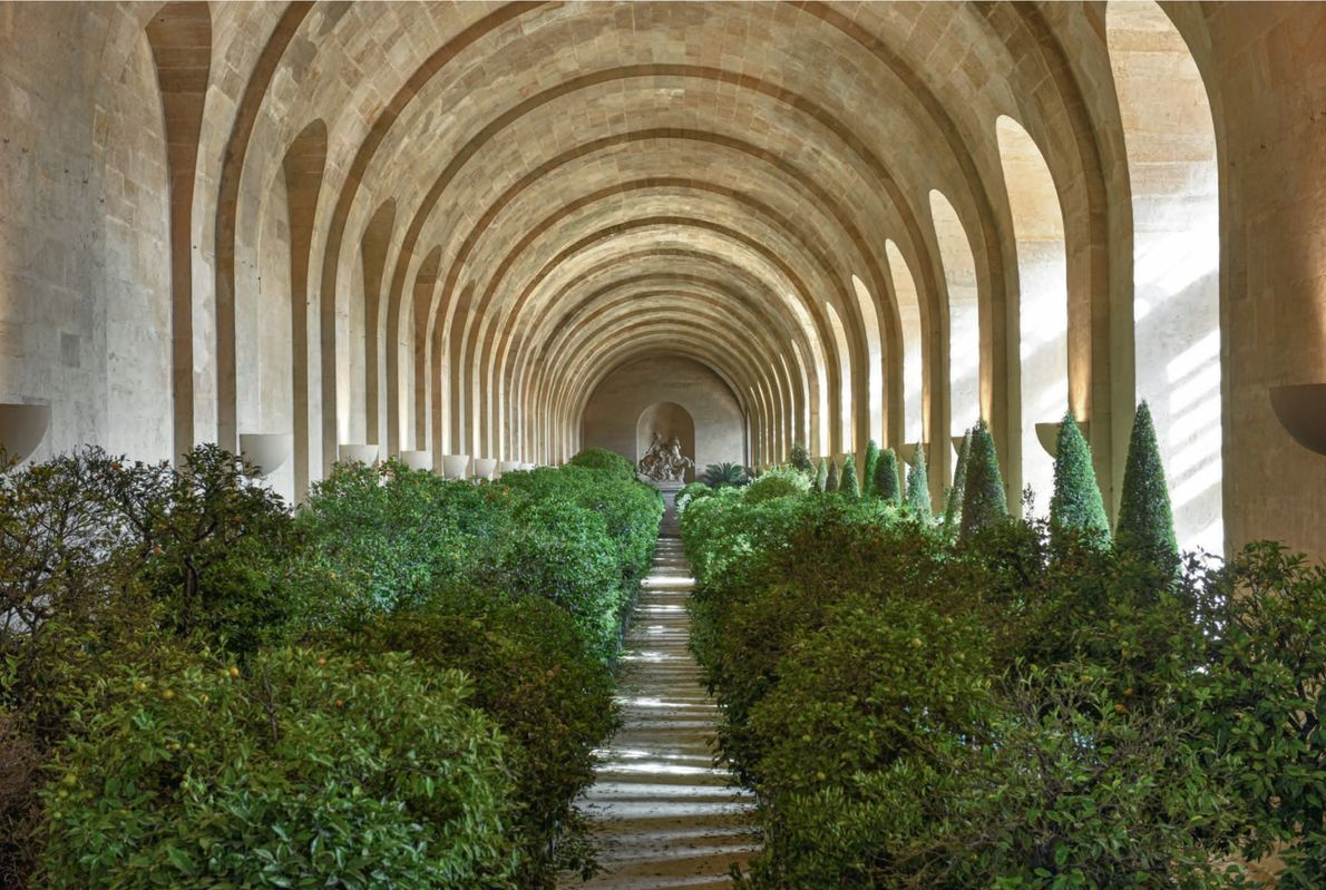 More than 492 feet long and 42 feet high, the expansive Orangery is filled with orange ...