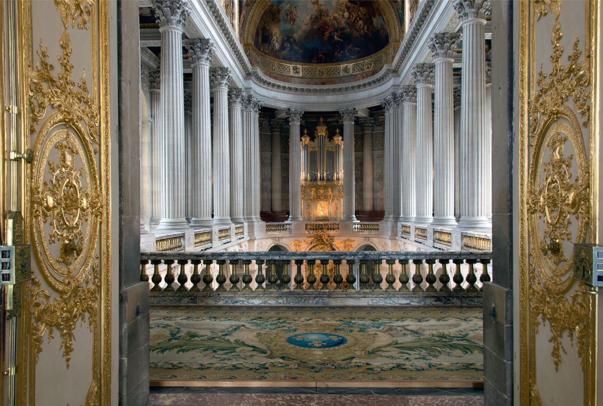 This breathtaking double door entrance to the first floor of the Royal Chapel gave the king ...