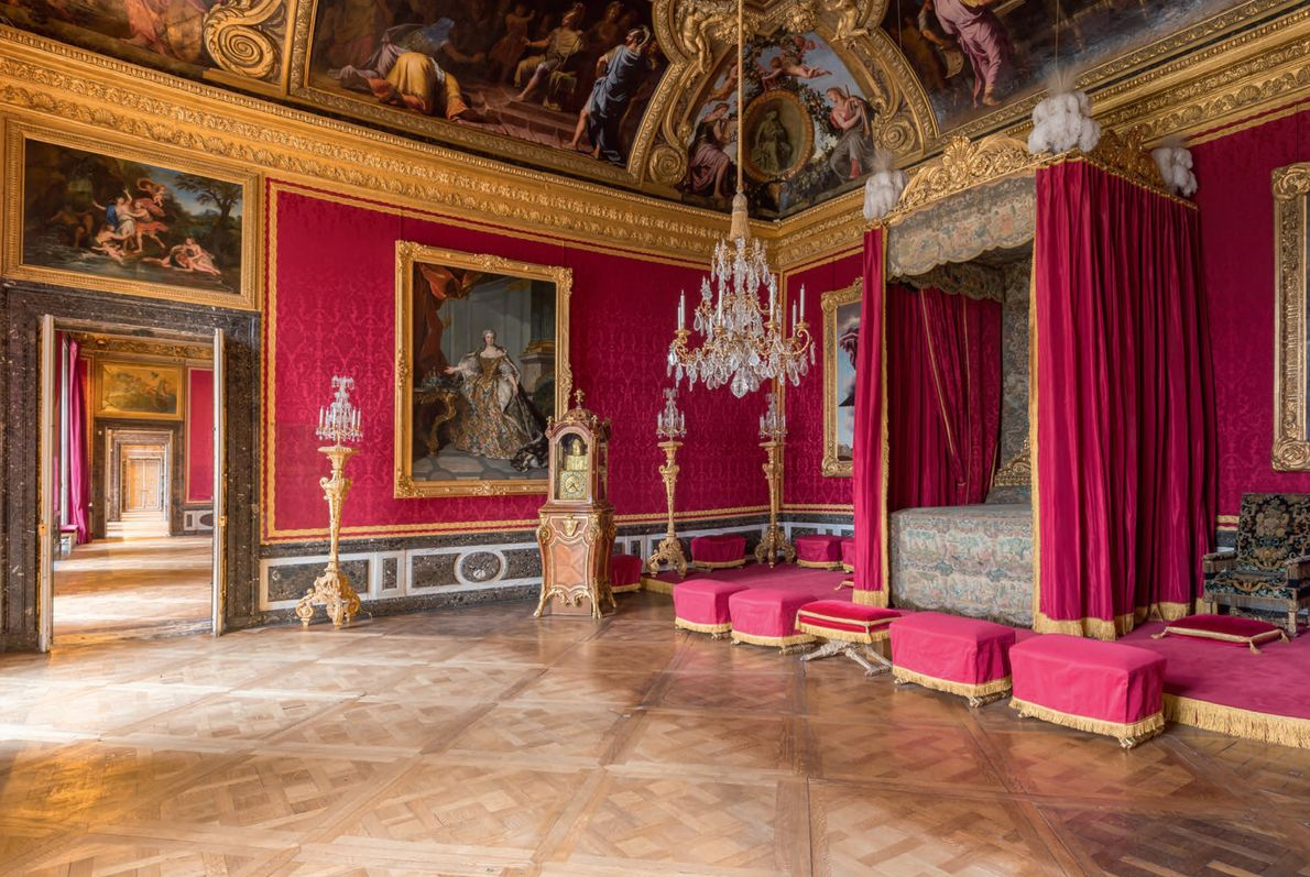 The eye-popping Mercury Salon covered in crimson damask was originally the state bedroom of the Grand ...
