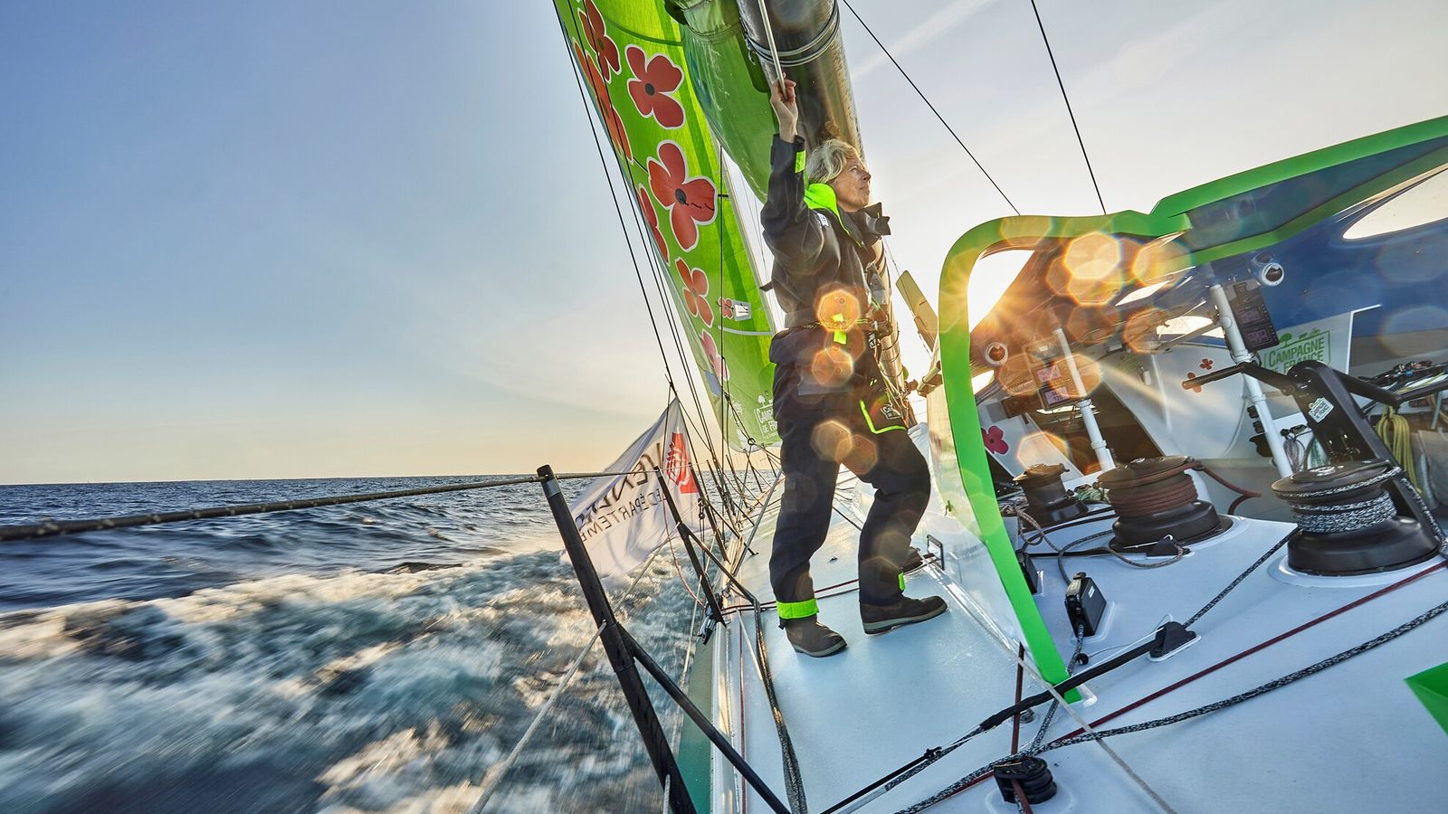 British skipper Miranda Merron, 51, trains aboard Campagne de France for the Vendée Globe 2020, an ...