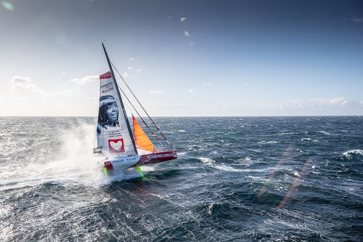 Sam Davies on Initiatives-Coeur near Lorient, France, not far from the race's starting point. The record ...