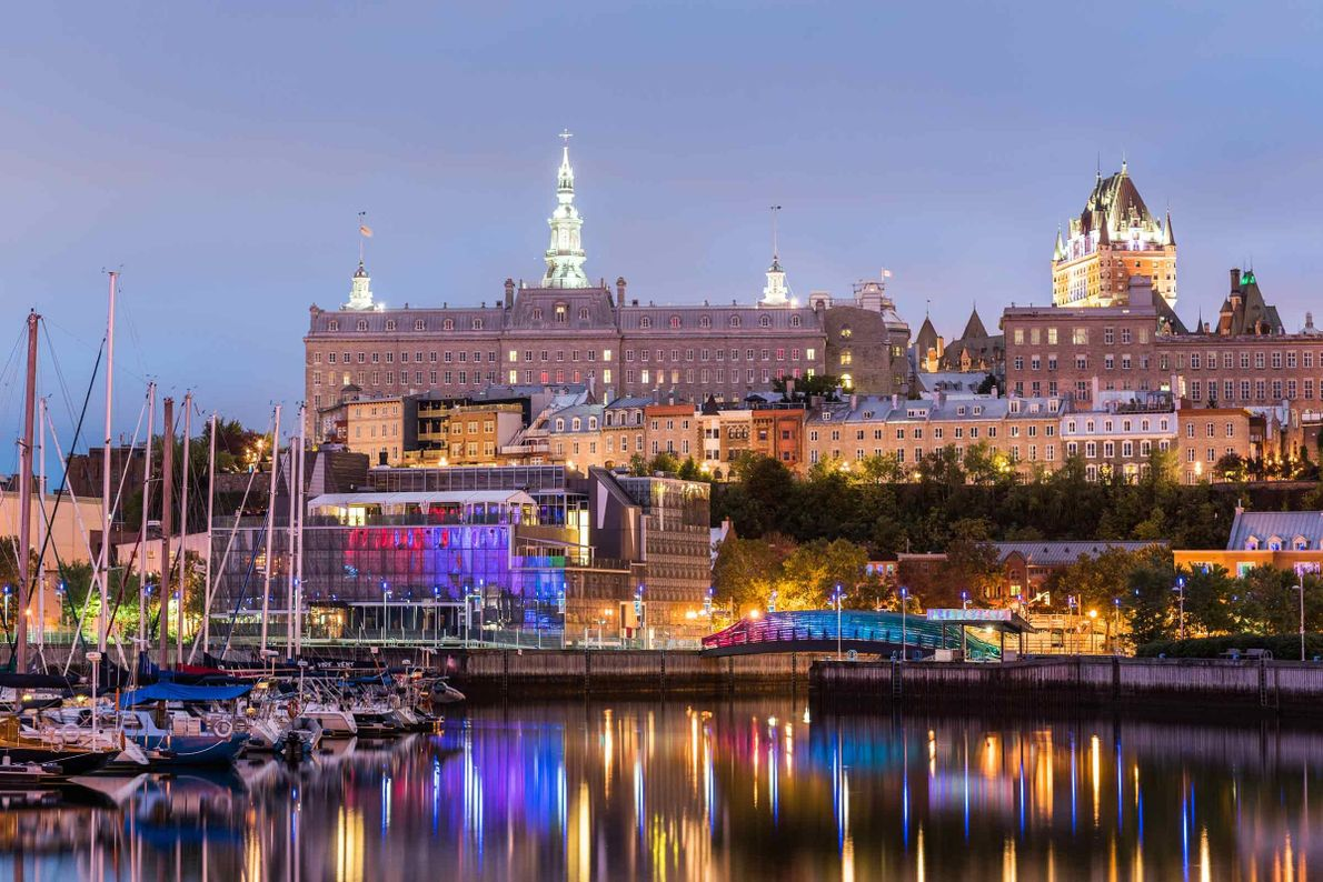 View of the Old Port of Québec before sunrise.