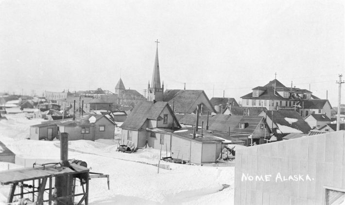 Nome in 1916. Nome's population exploded in 1899 when gold was found, and became a cityin ...