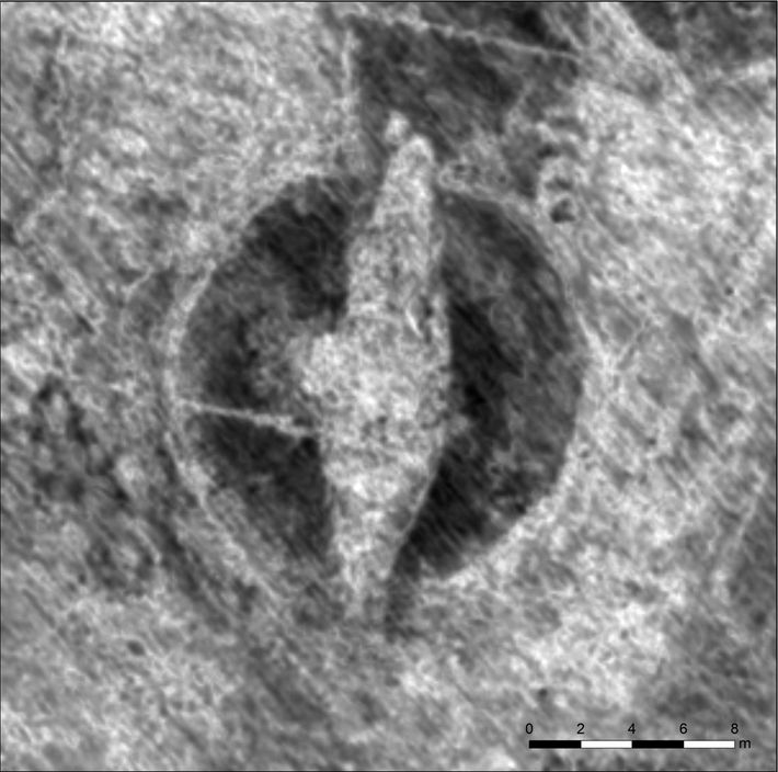 An image generated by ground-penetrating radar reveals the outlines of a Viking ship within a burial ...