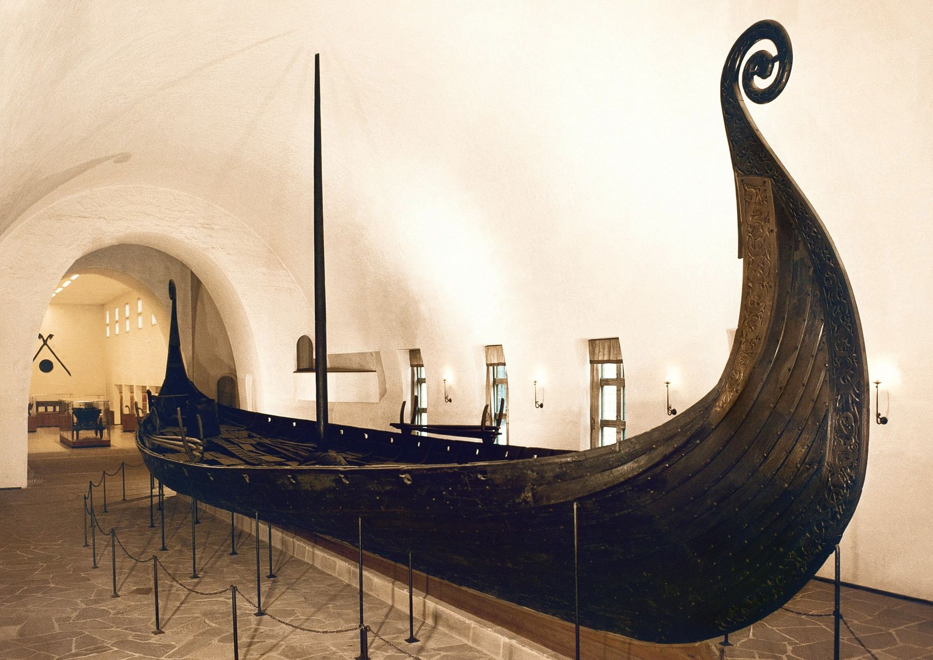 The Oseberg ship is on display in the Viking Ship Museum in Oslo. Built of oak ...