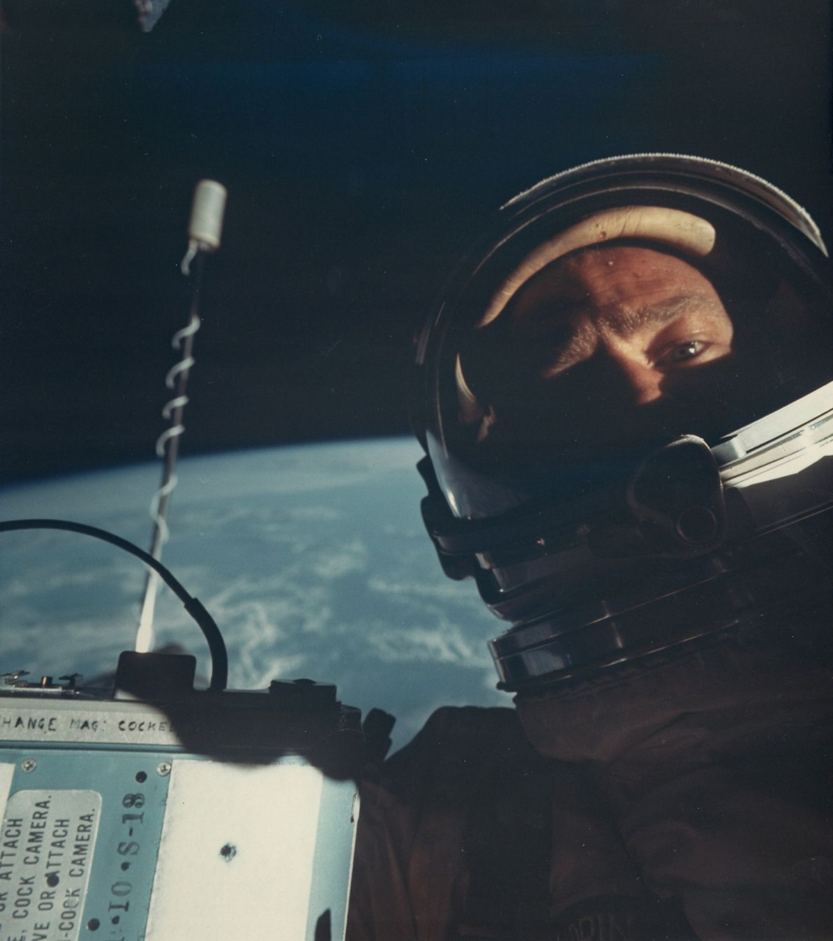 American astronaut Buzz Aldrin in 1966 on the Gemini 12 mission takes the first selfie in ...