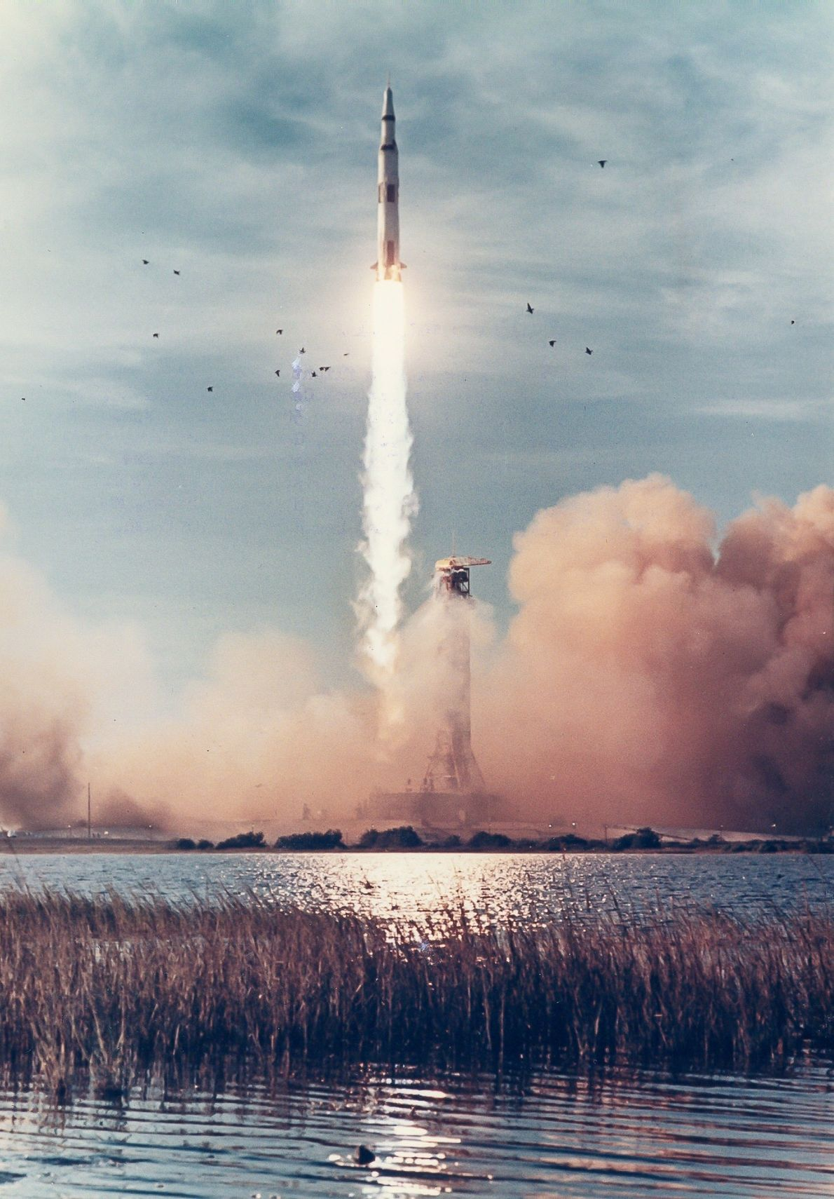 Apollo 8 lifts off from Cape Kennedy, Florida, in 1968. It was the first manned mission ...