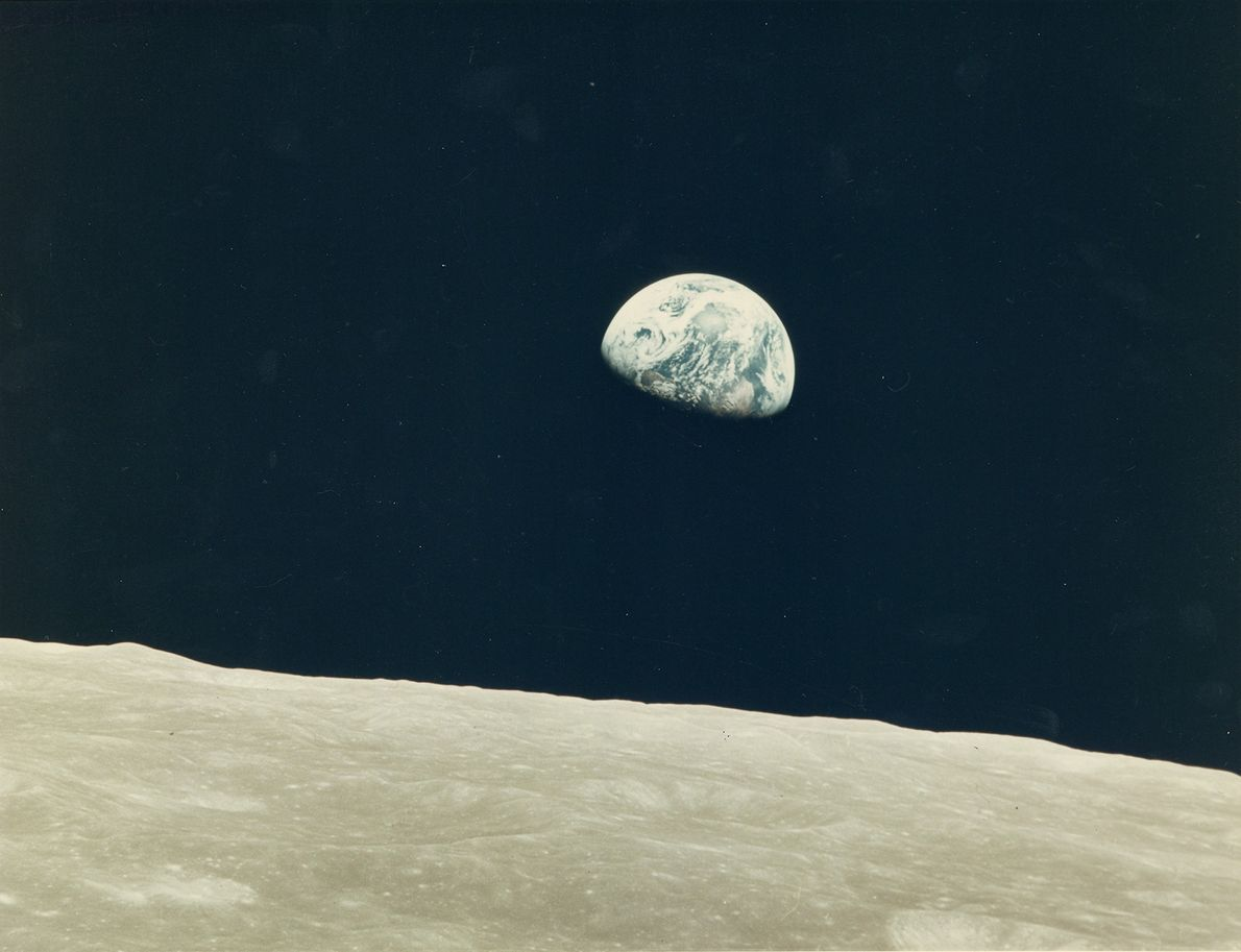 William Anders took this photo of his first earthrise on Apollo 8.