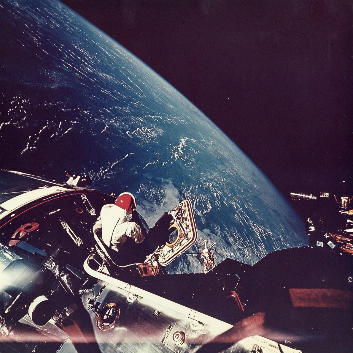 Astronaut Rusty Schweickart took this photo of fellow astronaut David Scott on an Apollo 9 space ...