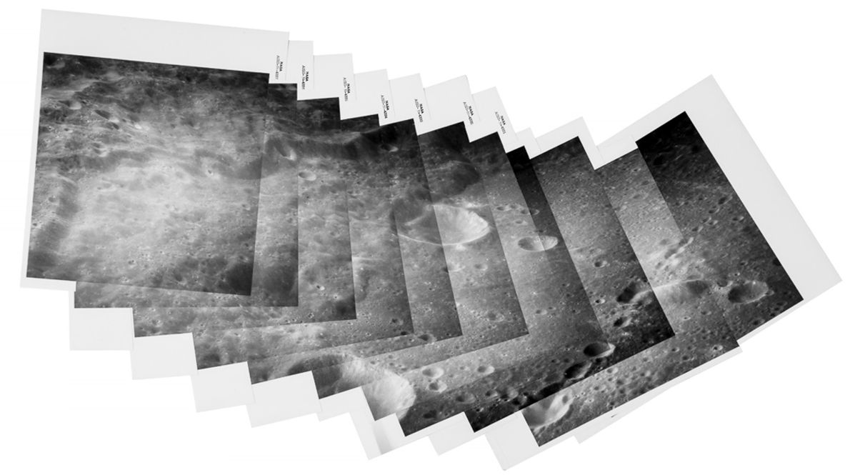 These photos of the moon, stitched together into a panorama, were taken on the Apollo 10 ...