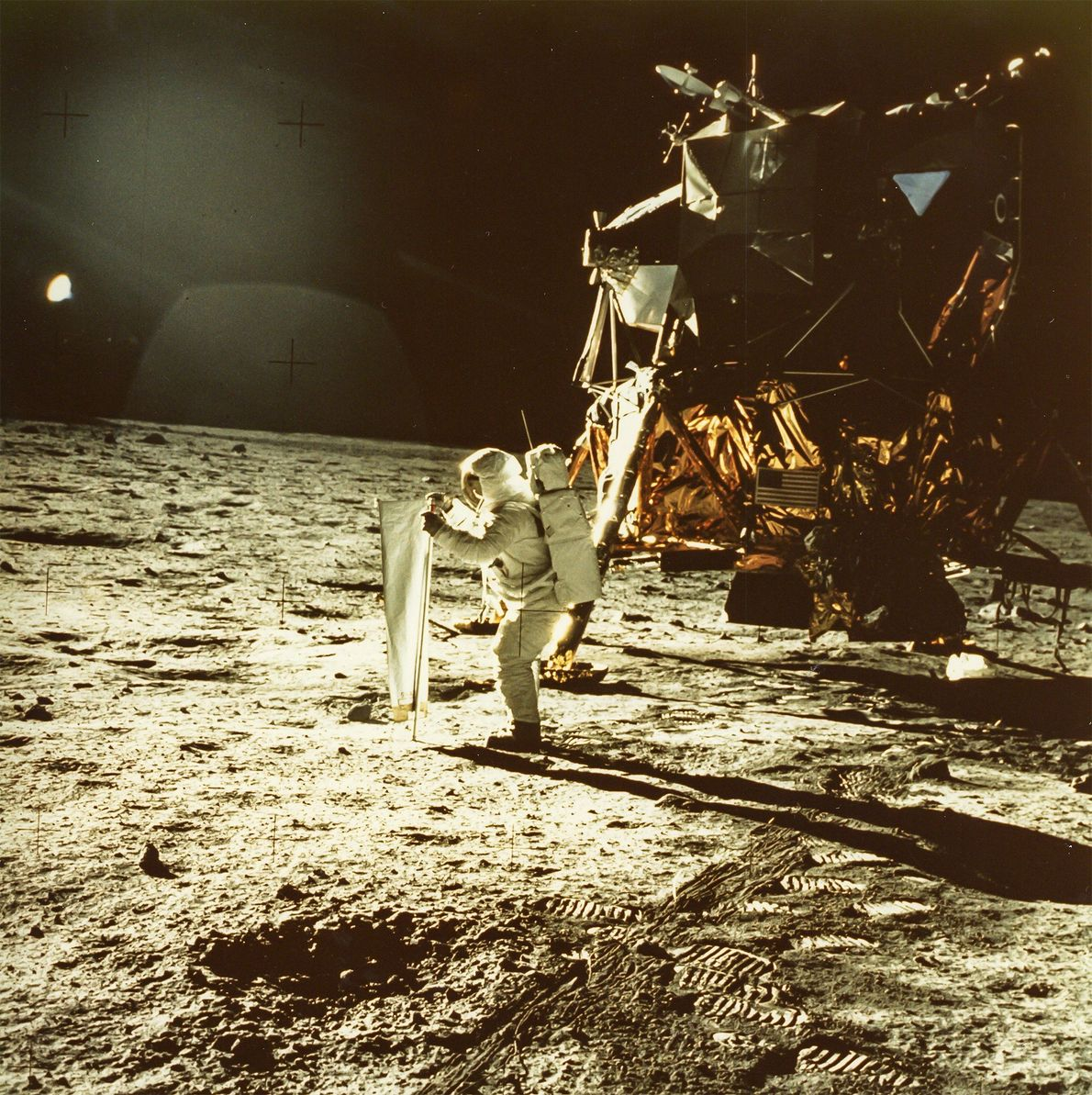 Astronaut Neil Armstrong took this photo of Buzz Aldrin during the Apollo 11 mission. It is ...