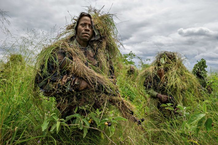 Virunga Park rangers in the Democratic Republic of the Congo undergo military-style training, including ambush tactics, ...