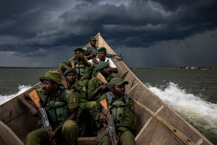 Rangers patrol Lake Edward, an area of Virunga prized by militia groups for its fish. According ...
