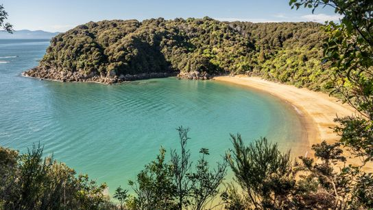 An inviting and sandy cove beckons visitors to Abel Tasman National Park.