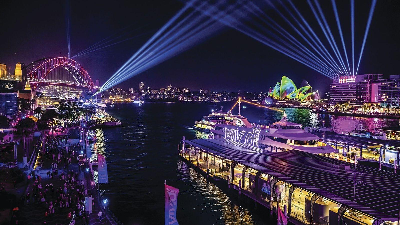 Sydney during the Vivid Sydney festival.
