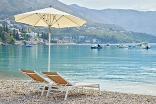 Sheraton Dubrovnik Riviera Hotel in Srebreno Bay, near the Old Town of Dubrovnik, has a beach ...