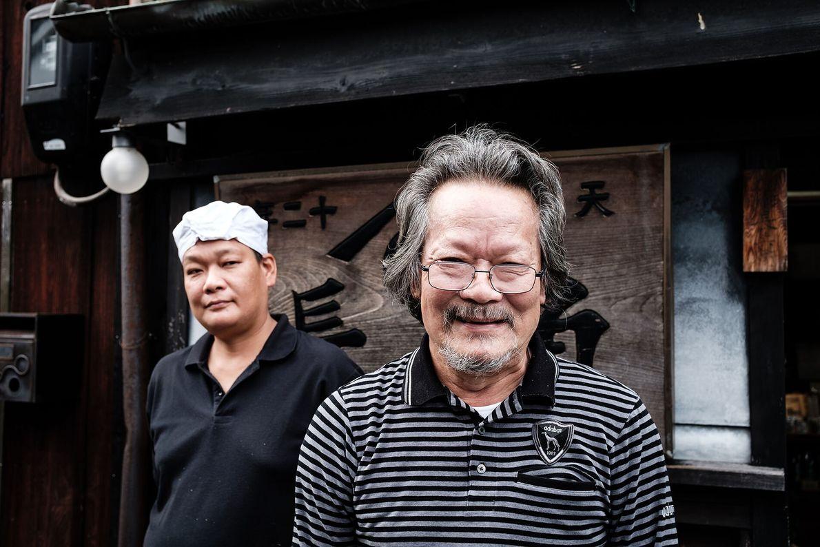 At Kadocho soy sauce, or shōyu, factory, Kano Makoto and his son, Tsunenori, are sixth- and ...