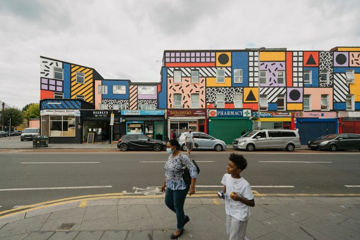 Walala Parade by artist Camille Walala was completed in 2020, bringing fresh forms and colour to Leyton's High ...