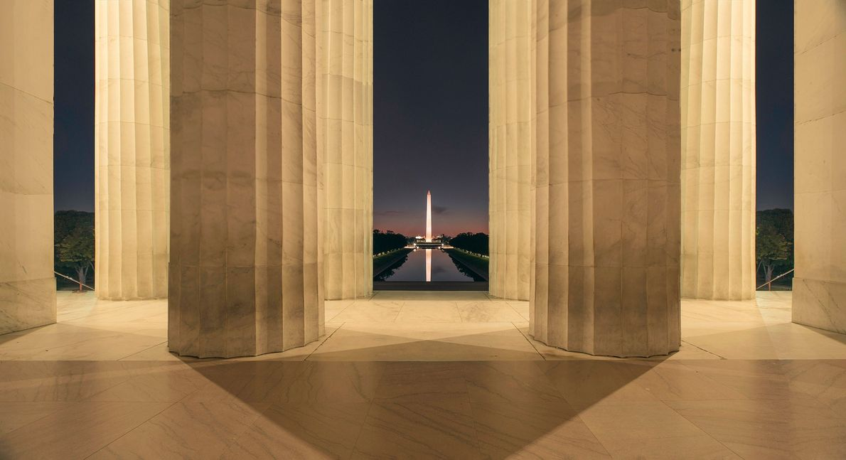 Sunset on Lincoln Memorial.