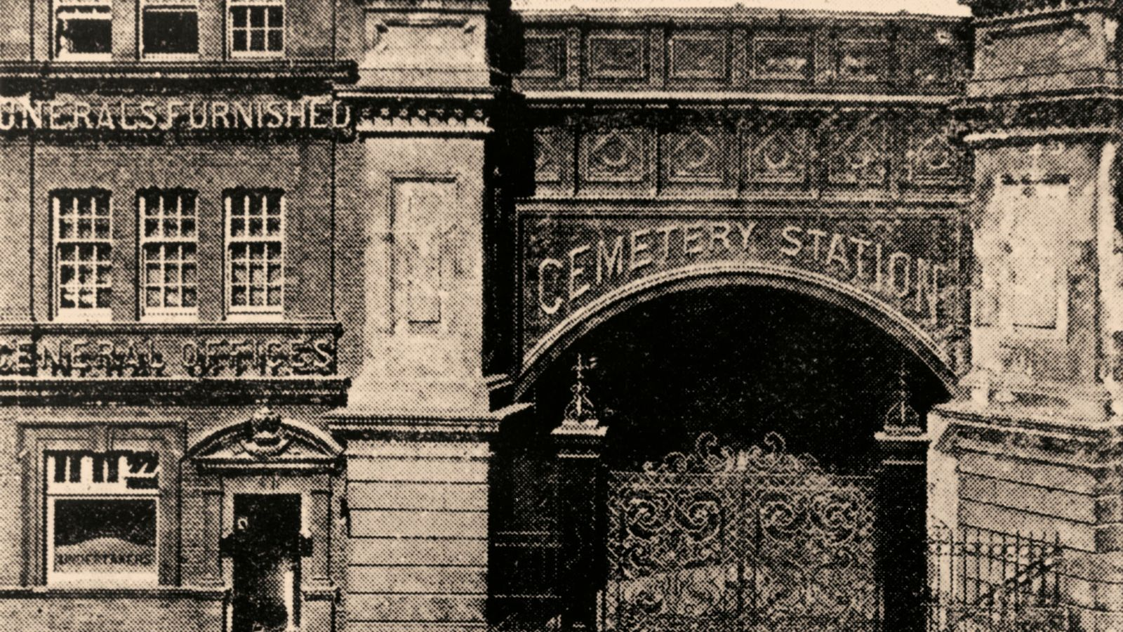 The enterance to the necropolis railway at Waterloo Station in London, photographed in the 1890s, which ...