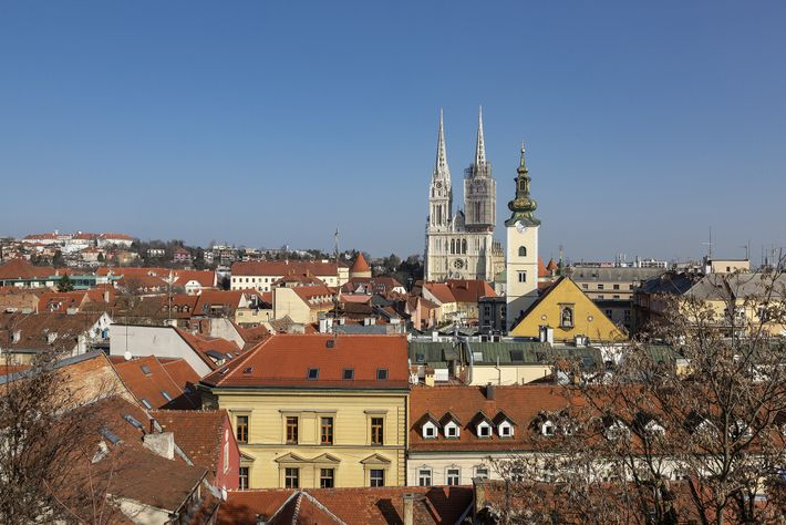 The twin spires of 13th-century Zagreb Cathedral rise above the roofs of Zagreb's Lower Town.