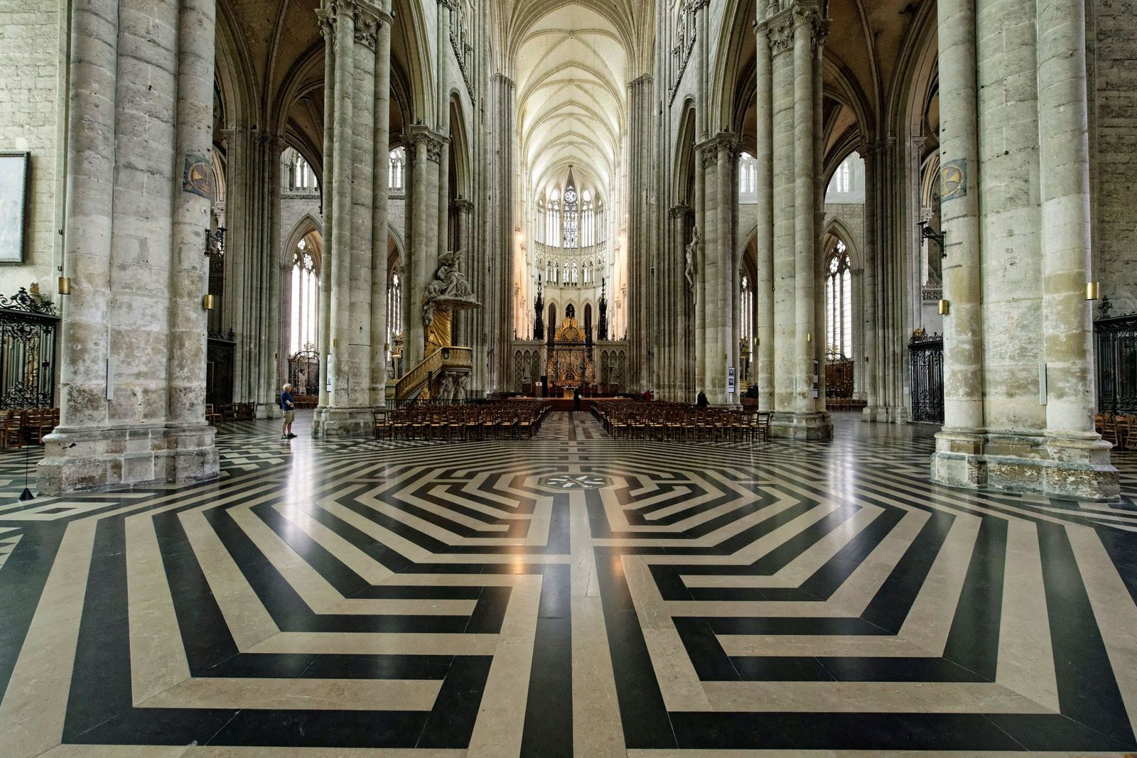 The labyrinth at Amiens Cathedral, France. The original is believed to date from the 13th century.