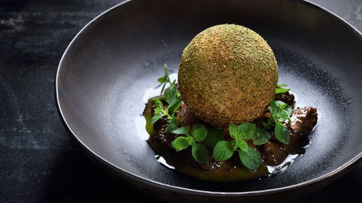 A savoury creation at the Michelin-starred L'Atelier du Peintre.