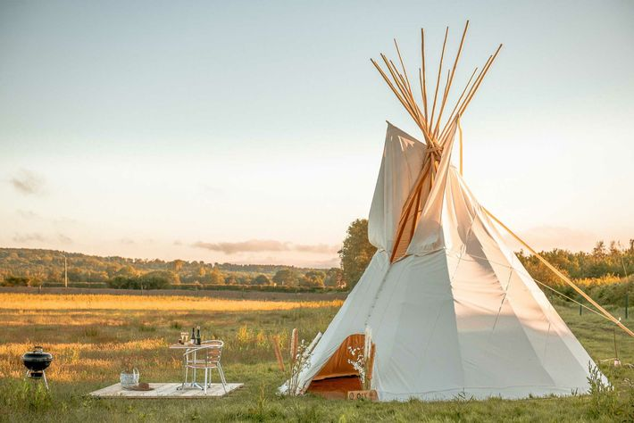 The bell tents at Oastbrook sit right by the estate's vines. Tours and tastings can be ...