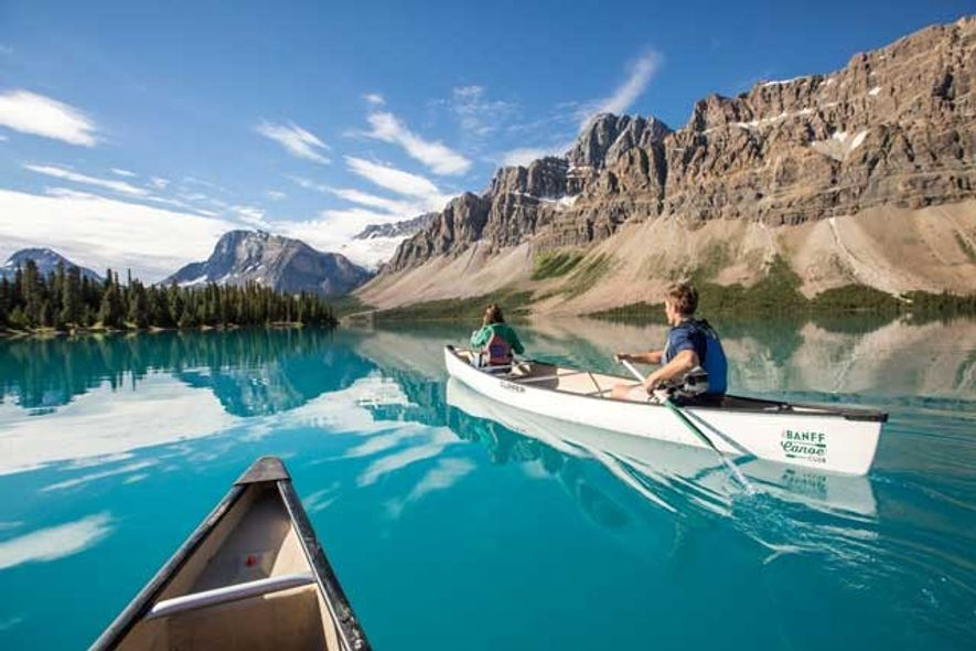 Out on the waters of Lake Louise