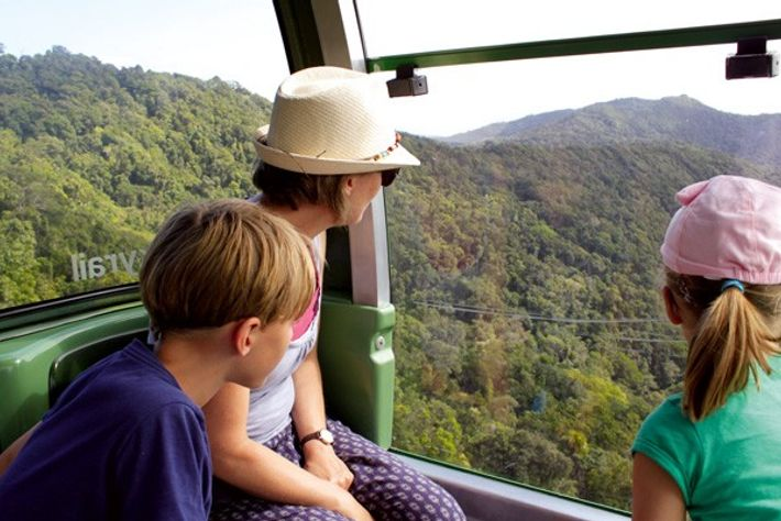 Family on board the Skyrail, Queensland