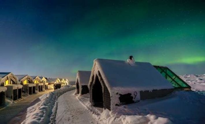 Northern Lights above Star Arctic, Finland