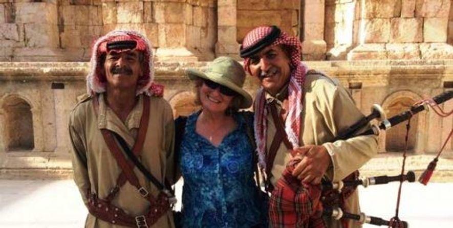 Zoe with musicians in Jordan