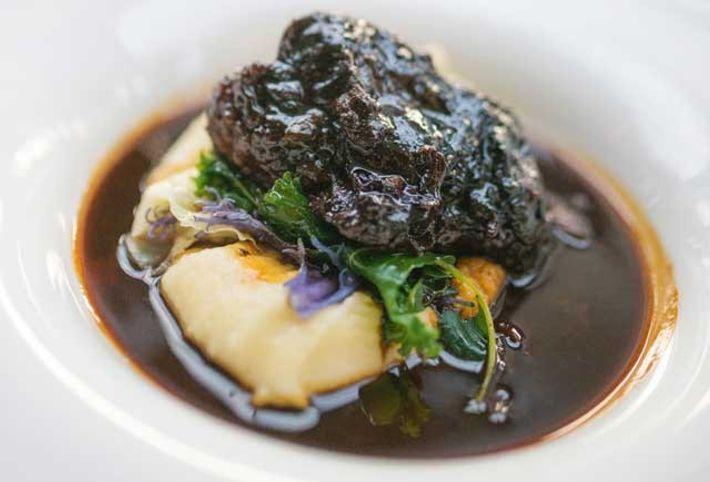 Pedro Ximénez-braised ox cheek, potato purée and kale at Thames Lido