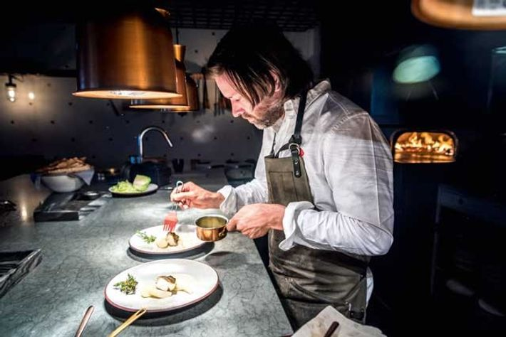 Niklas Ekstedt in his eponymous Michelin-starred restaurant in Stockholm.