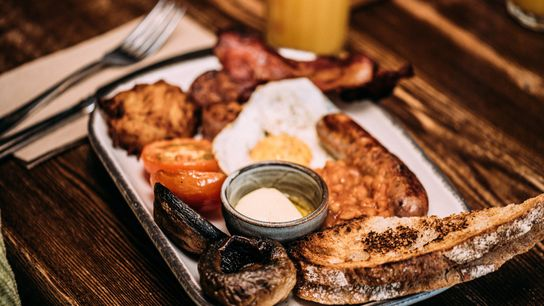 The full Cornish at Hub in St Ives is made with bacon, sausage, sourdough toast, eggs and ...