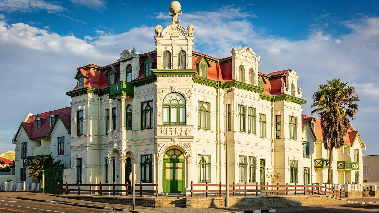 The colourful Hohenzollern Building, Swakopmund.
