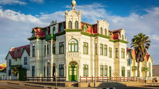 The colourful Hohenzollern Building, Swakopmund.