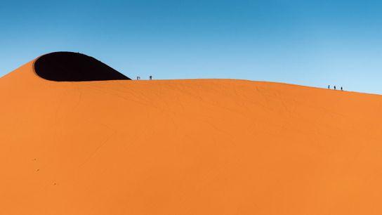 Climbing the towering Dune 45, Sossusvlei.