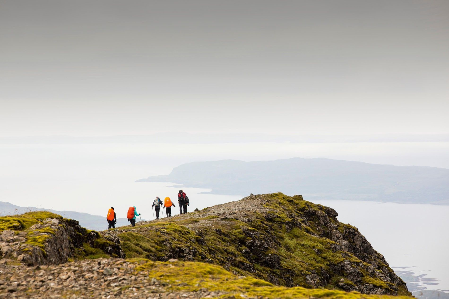Walking group on the summit of Ben More, Mull