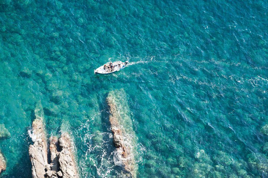 Boating off the coast of Cinque Terre.