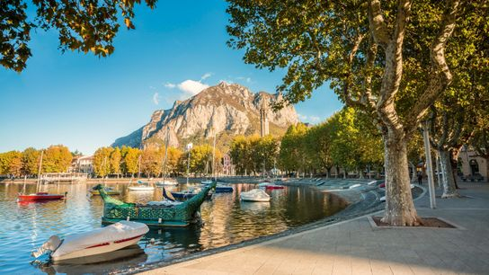 Lakefront of Lecco, a city located on the southern tip of Lake Como.
