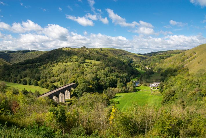View from Monsal Head, taking in the Headstone Viaduct and Monsal Dale, one of the area's ...