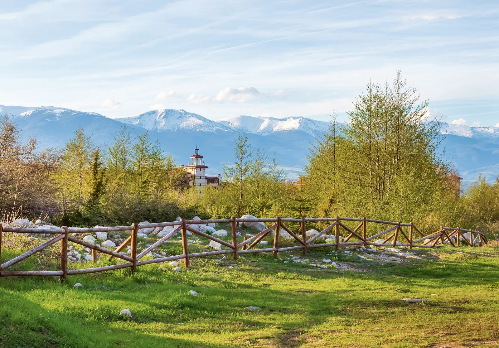 Bansko in springtime, with the Pirin Mountains in the background.