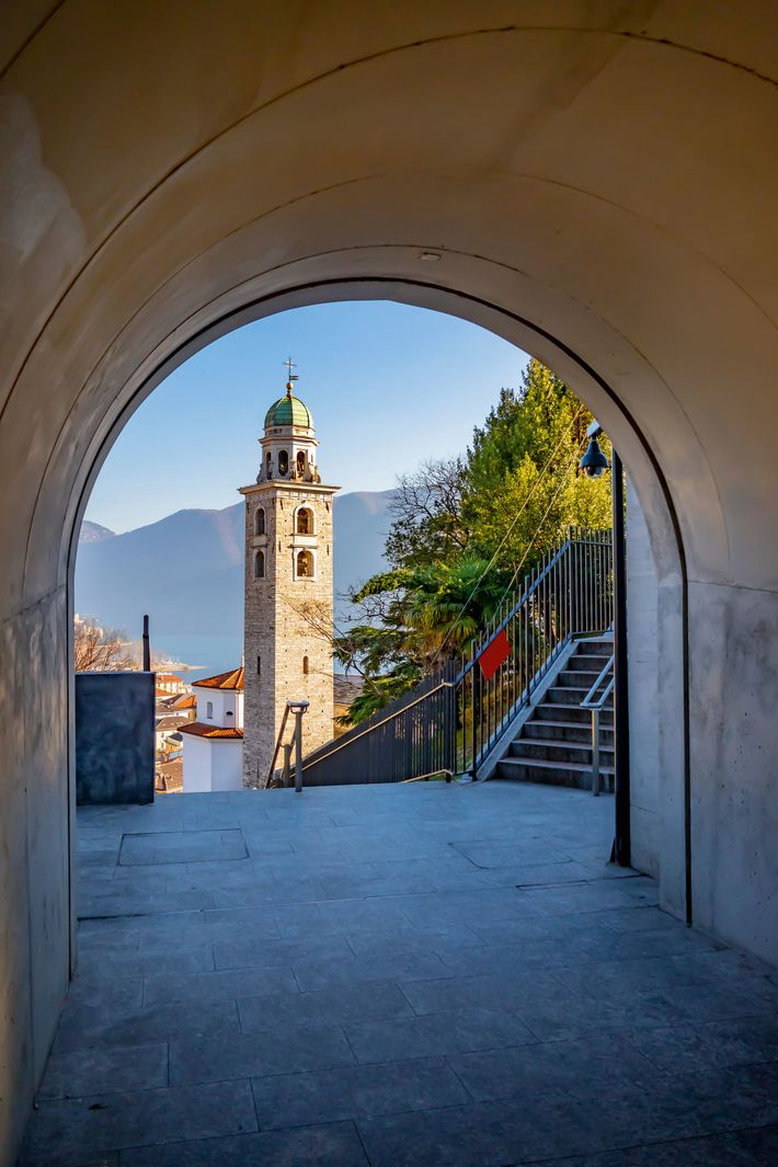 Cathedral bell tower in Lugano, the largest town in the canton of Ticino. With its spectacular ...