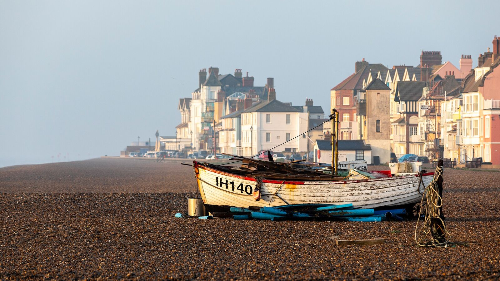 The remains of old fishing boats on the Aldeburgh beach, Suffolk. Here,the local catch includes sea ...