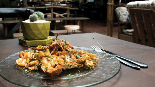 Lobster fettuccine at Bella Afrik, where chef Claudio Sarfati creates what he calls 'Italian tropical' cuisine.