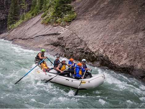 Whitewater river rafting in Jasper National Park.
