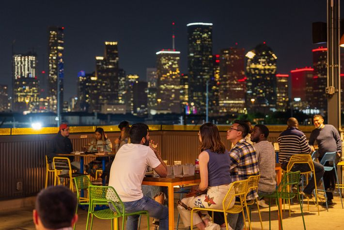 Buffalo Bayou Brewing Co offers spectacular views of the Houston skyline.